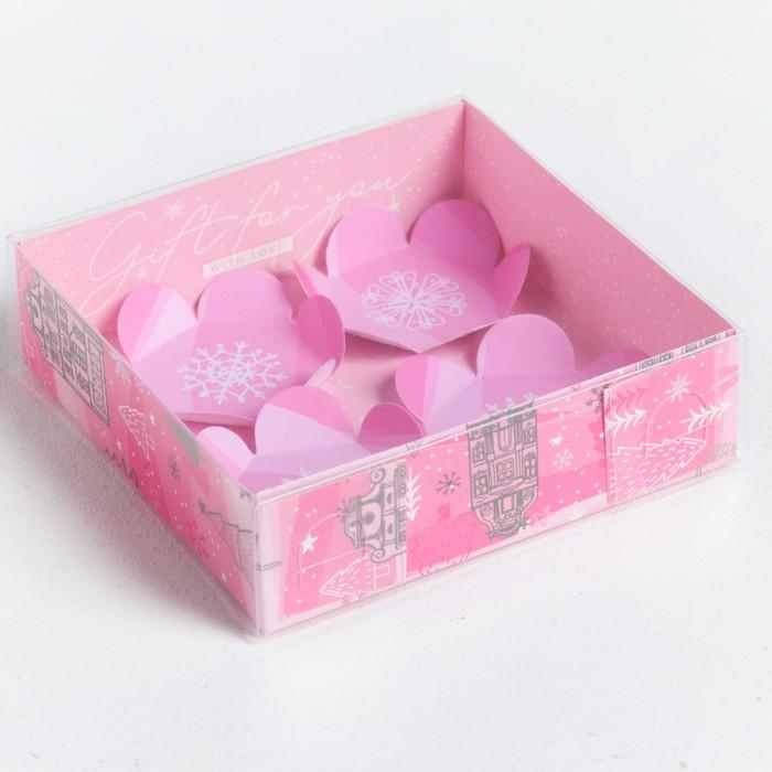 Коробка для макарун с подложками «Радости», 12 × 12 × 3 см