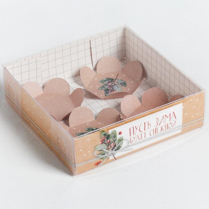 Коробка для макарун с подложками «Пусть зима будет снежной», 12 × 12 × 3 см