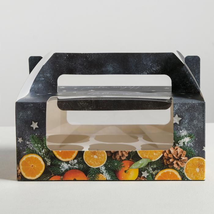 Коробочка для кексов «С Новым годом!», 24 × 10 × 16 см