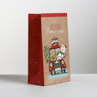 Пакет подарочный без ручек «Весёлого Нового года», 10 × 19.5 × 7 см
