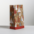 Пакет подарочный без ручек «Новогодние ёлки», 10 × 19.5 × 7 см