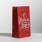 Пакет подарочный без ручек «Новогодний подарок», 10 × 19.5 × 7 см