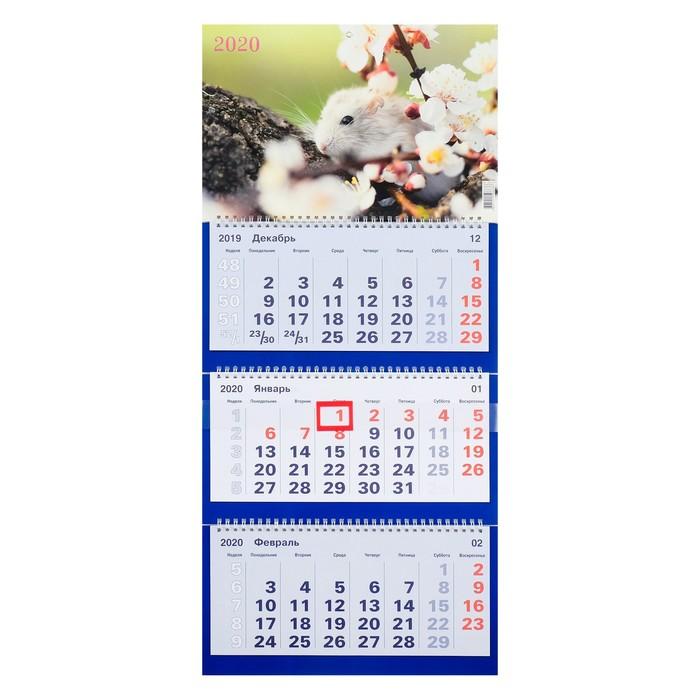 """Календарь квартальный, трио """"Символ года-19"""" 2020 год, 31 х 69 см"""