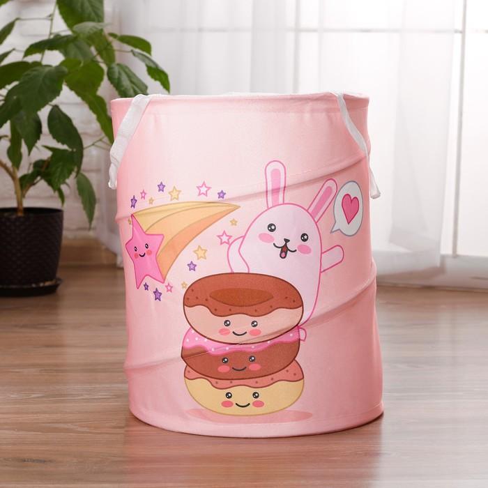 Корзина для хранения игрушек «Пончики и зайка» 35×35×45 см