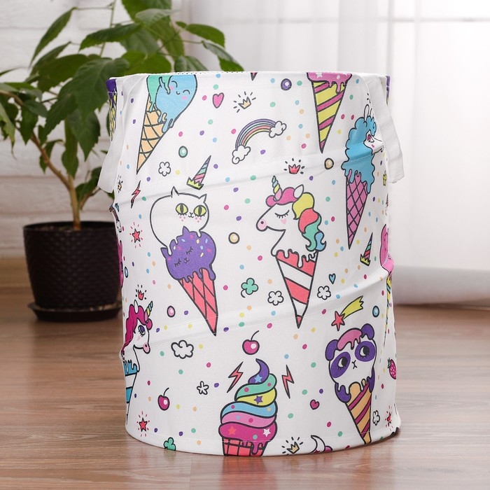 Корзина для хранения игрушек «Мороженки» 35×35×45 см