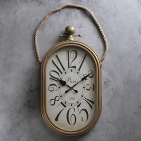 """Часы настенные, серия: Интерьер, """"Кортили"""", золотистые, 35х77 см, под старину"""