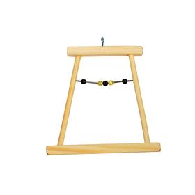 Качели для птиц в клетку деревянные, малые с бусами, 12 х 0,8 х 11 см
