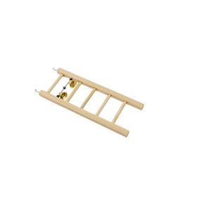 Лесенка для птиц в клетку деревянная, большая, с бусами и колокольчиком, 7,1 х 2 х 9,5 см