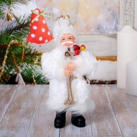 Santa Claus in white coat wood 17 cm