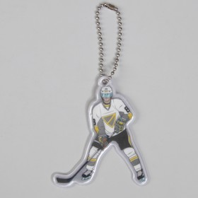 Светоотражающий элемент 'Хоккеист', 7 x 6 см, серый/белый (комплект из 5 шт.)