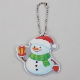 Светоотражающий элемент 'Снеговик' 6 x 6,5 см, красный, белый/зелёный (комплект из 5 шт.)