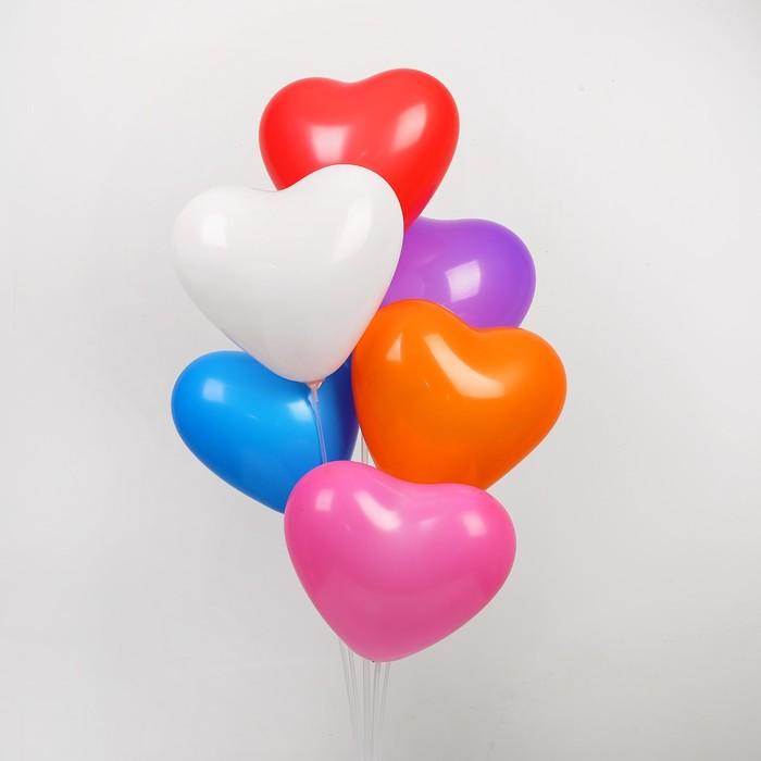 """Шар латексный 12"""", сердце, пастель, набор 50 шт., цвета МИКС - фото 308471286"""