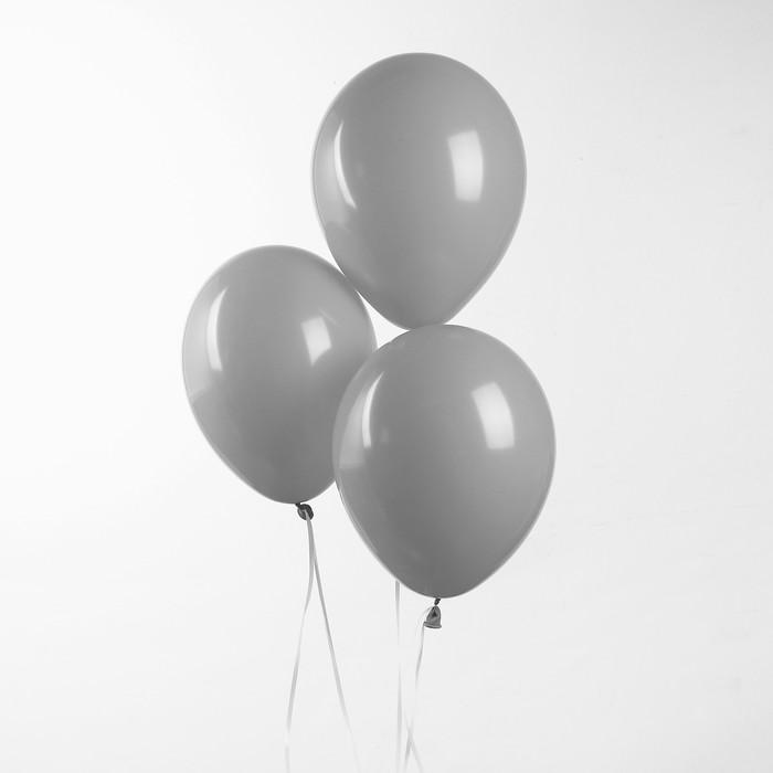 """Шар латексный 10"""", пастель, набор 100 шт., цвет серый - фото 308471332"""