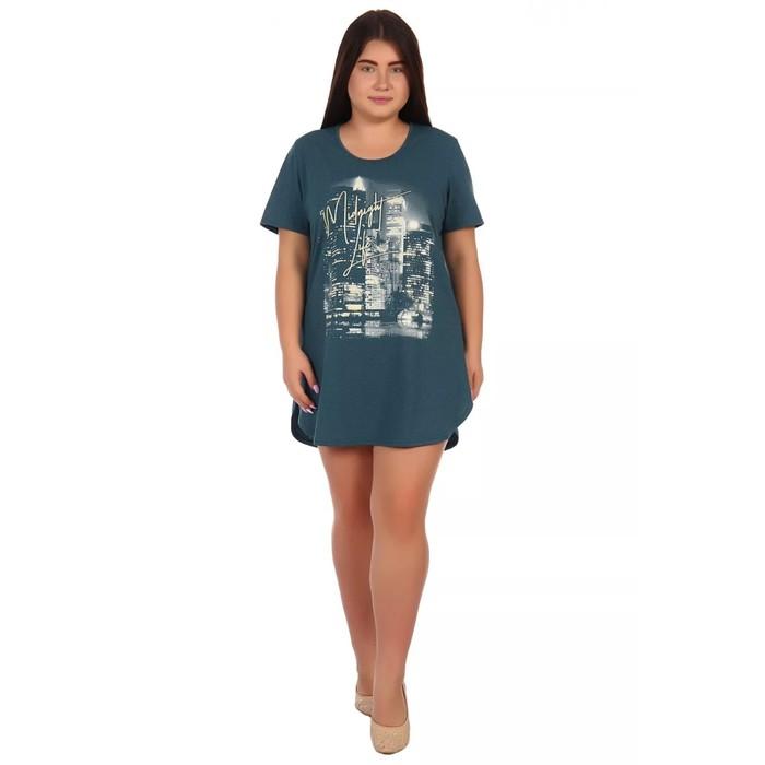 Туника женская «Мегаполис», цвет изумруд меланж, размер 60