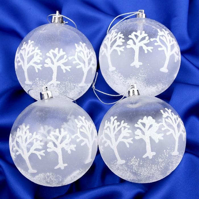 """Набор шаров пластик d-8 см 4 шт """"Деревья в снегу"""" прозрачный"""