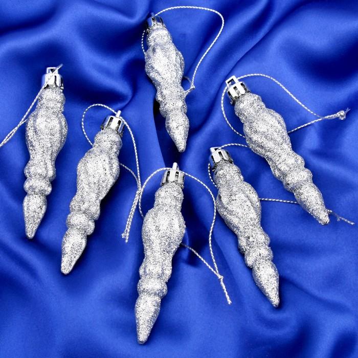 Набор украшений пластик 7*2 см 6 шт сосульки винтаж серебро