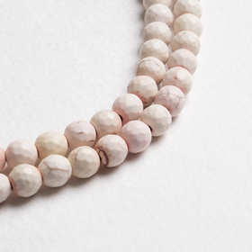 """Beads ball No. 8 faceted """"Cacholong"""" (48 beads)"""