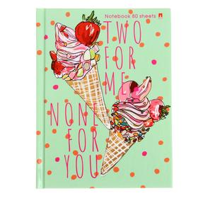 "Notebook A6, 80 sheets of ""Ice Cream"", hard cover, glossy lamination."