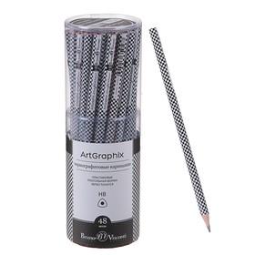 Карандаш чернографитный 3 мм ArtGraphix «Шашечки», НВ, трёхгранный, пластиковый корпус