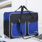 Сумка спортивная, отдел на молнии, 2 наружных кармана, длинный ремень, цвет чёрный/синий