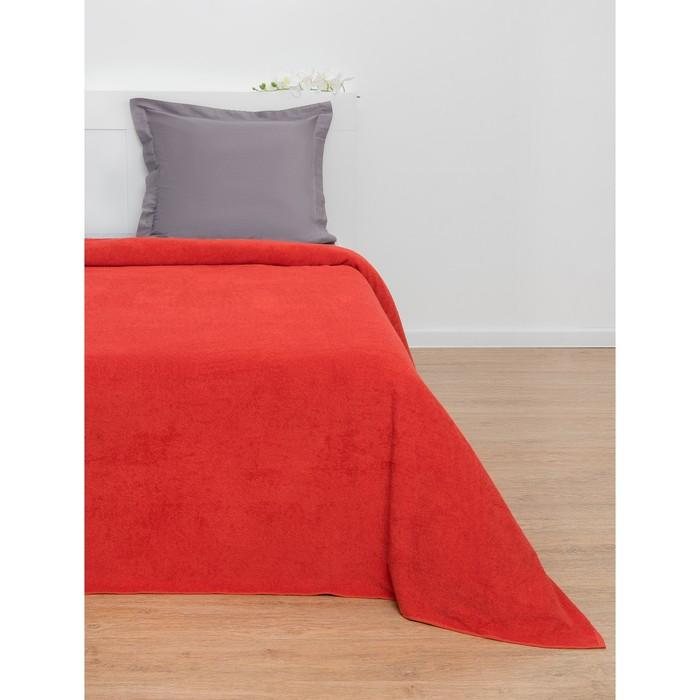 Простыня махровая, однотонная, цвет красный, 155х200 см