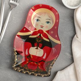 Блюдо сервировочное Доляна «Матрёшка в красном», 20,4×13,5 см