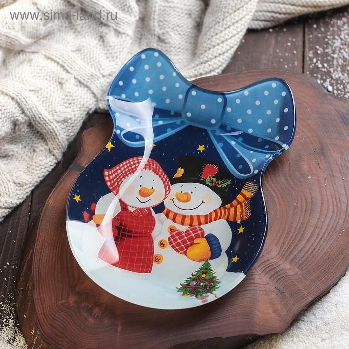 "Dish serving ""Bow. Happy snowmen"", 18,5x13x2 cm"