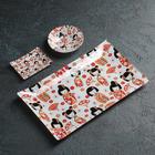 "A set of sushi ""Sakata"", 3 items: gravy boats 8×2 cm, 8×6 cm, stand 25 x 15 cm"