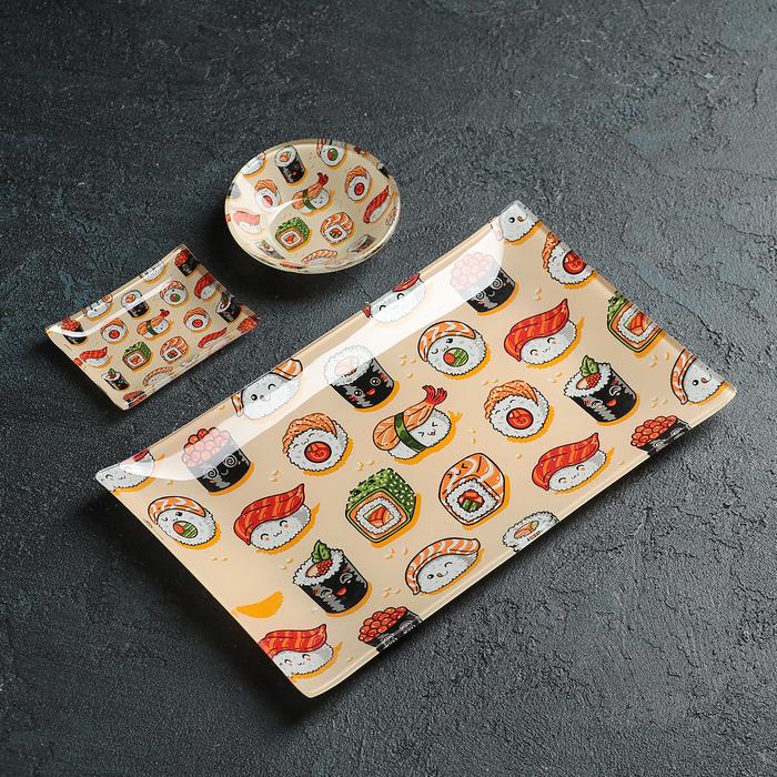 """Набор для суши """"Сет"""", 3 предмета: соусники 8×2 см, 8×6 см, подставка 25×15 см"""
