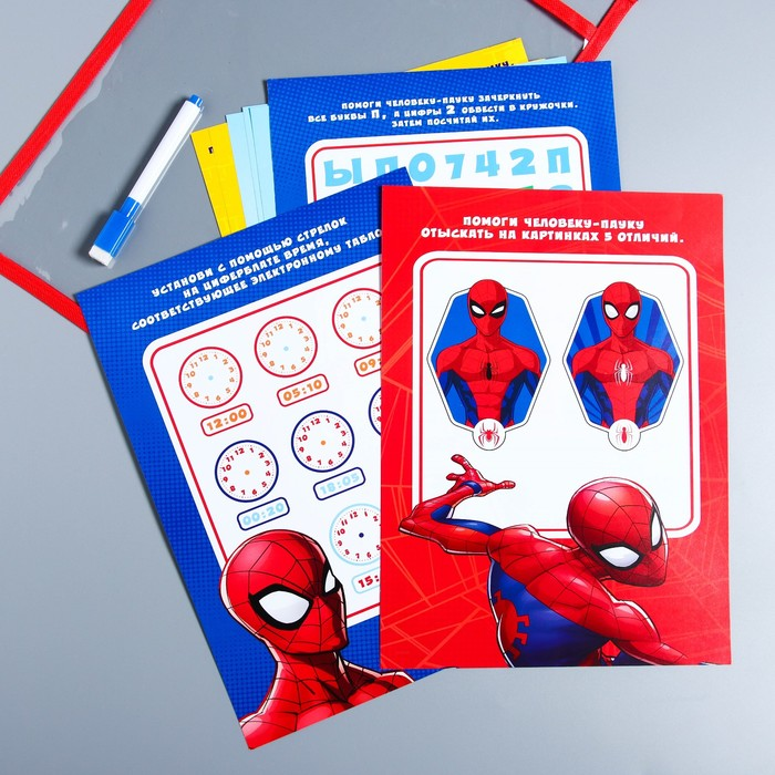 Развивающая игра «Пиши-стирай» в папке с карточками и маркером, Человек-Паук