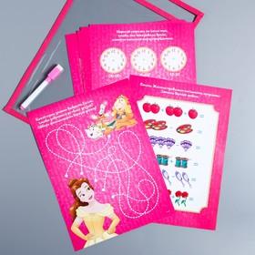 Развивающая игра «Пиши-стирай» в папке с карточками и маркером, Принцессы
