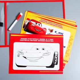 Развивающая игра «Пиши-стирай» в папке с карточками и маркером, Тачка
