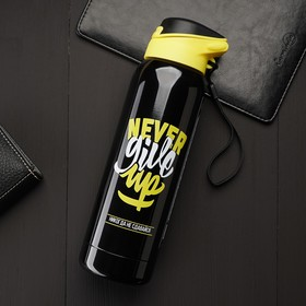 """Thermos with sippy cups """"Never give up"""", 500 ml"""