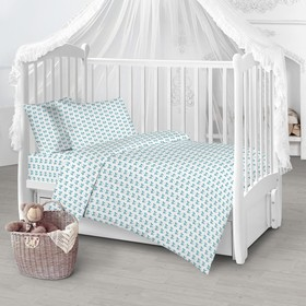 Детское постельное бельё «Бантик», цвет голубой, 112х147см, 110х150см, 40х60 см 1 шт