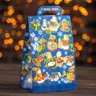 """Подарочная коробка """"Снеговики"""", синий,  14 х 10 х 22 см"""