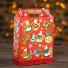 "Подарочная коробка ""Снеговики"", красный, 16,8 х 7 х 25 см"