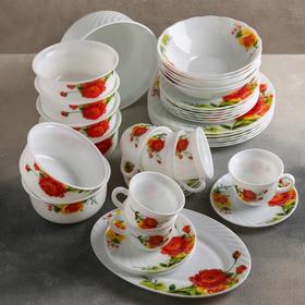 """Сервиз столовый """"Чайные розы"""", 38 предметов"""