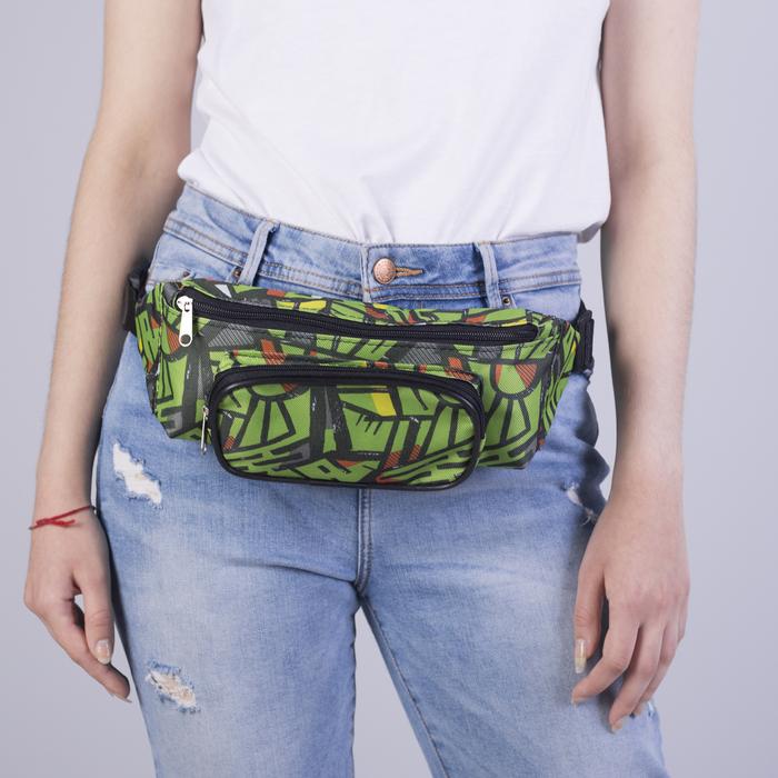 Сумка поясная, отдел на молнии, наружный карман, цвет чёрный/зелёный