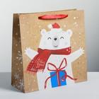 Пакет крафтовый квадратный «Волшебного праздника», 30 × 30 × 12 см
