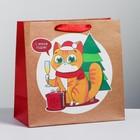 Пакет крафтовый квадратный «Сюрприз!», 22 × 22 × 11 см