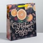 Пакет крафтовый горизонтальный «Новогоднее настроение», M 26 × 30 × 9 см
