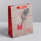Пакет крафтовый вертикальный «Новогодний подарок», MS 18 × 23 × 8 см
