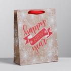 Пакет крафтовый вертикальный Happy New Year, MS 18 × 23 × 8 см