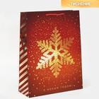 Пакет вертикальный «Золотая снежинка», 31 × 40 × 11 см