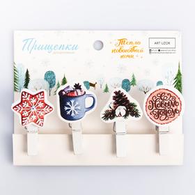 Набор декоративных прищепок «Тепло новогодней ночи», 12 × 9.7 см