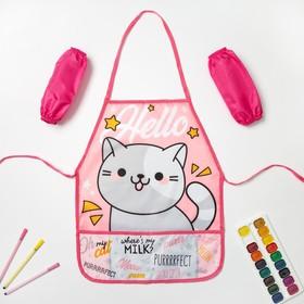 """Набор детский для творчества Collorista """"Hello cat"""" фартук 49 х 39 см и нарукавники"""
