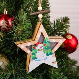Декор с подсветкой «Снеговик со звездой»