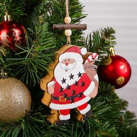Декор с подсветкой «Дед мороз в звёздочках»