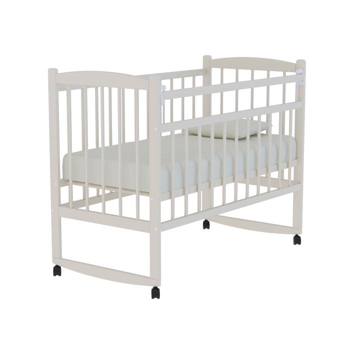 Кровать детская «Колибри» на колёсах или качалке, цвет слоновая кость
