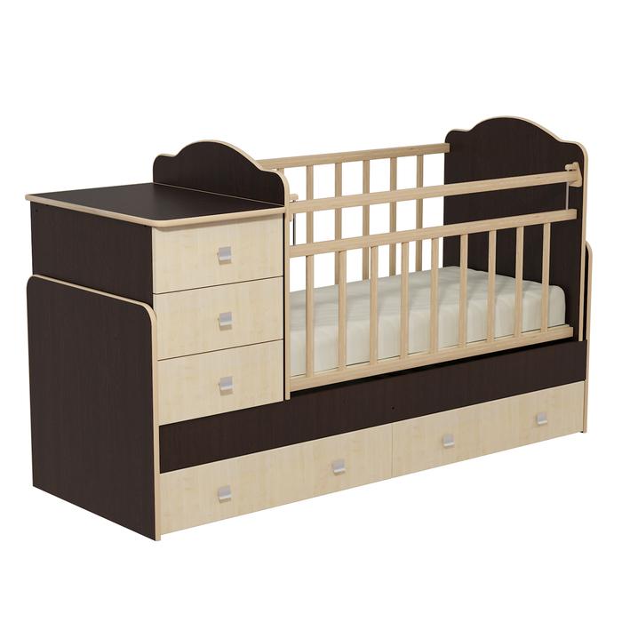 Кровать детская с комодом и ящиками «Колибри», цвет венге/клён